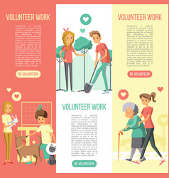 volunteers work vertical banners set vector image vector image