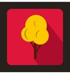 Yellow autumn tree icon flat style vector