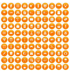 100 windows icons set orange vector