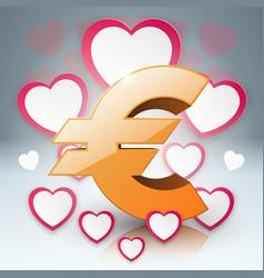 3d infographiceuro heart money icon vector