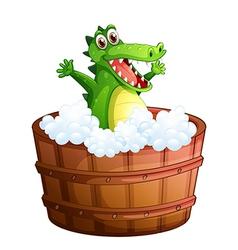 A crocodile taking bath vector