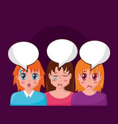 Anime girl group manga comic vector