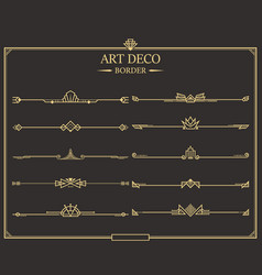 Art deco border 10 set vector