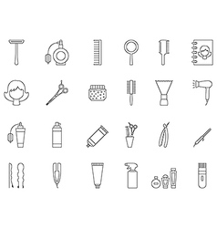 Barbershop black icons set vector image