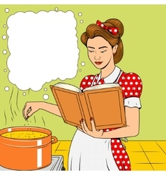 Beauty wife cooking soup retro vector image