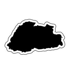 black silhouette of the country bhutan with the vector image