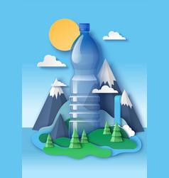 blank drink water plastic bottle paper cut vector image