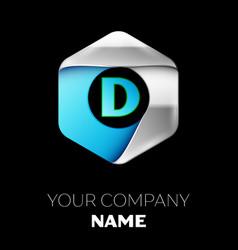 blue letter d logo in the silver-blue hexagonal vector image
