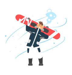 Boy holding snowboard vector