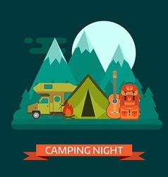 Campsite Place Night Landscape with Camper Van vector
