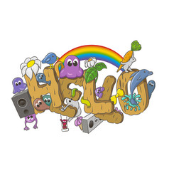 cartoon style hello word with cute monsters vector image
