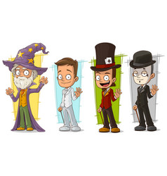 cartoon wizard and mime character set vector image