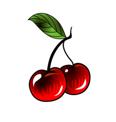 cherry in old school tattoo style vector image