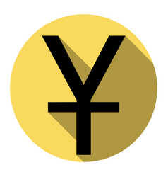 chinese yuan sign flat black icon with vector image