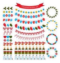 christmas decoration brushes set vector image