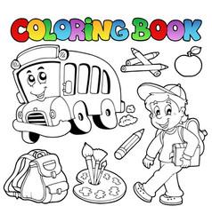 Coloring book school cartoons 2 vector