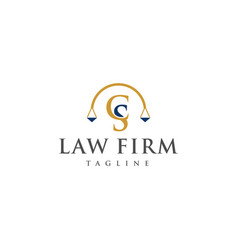 cs law logo design vector image