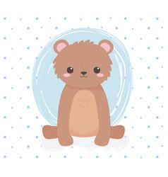 cute bear sitting animal standing cartoon blue vector image
