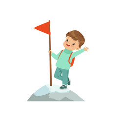 Cute boy standing in mountain top wih flag kids vector