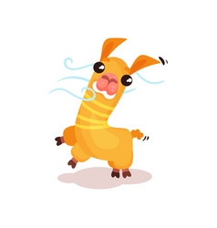 cute friendly llama alpaca cartoon character vector image
