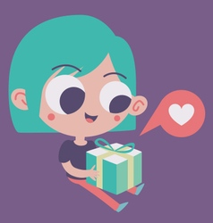 Cute Girl in Love Holding a Present vector image