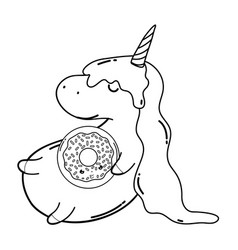 Cute unicorn with donut kawaii character vector