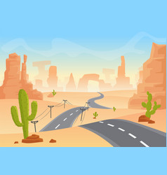 desert texas landscape cartoon desert with vector image