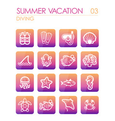 Diving icon set summer vacation vector