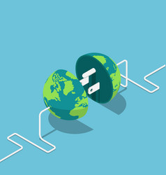 earth globe as a plug and socket connected vector image