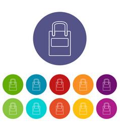 eco bag icons set color vector image