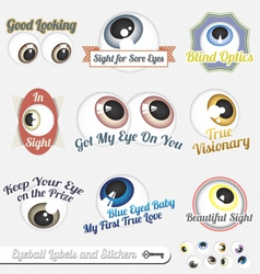 Eyeball Labels and Icons vector