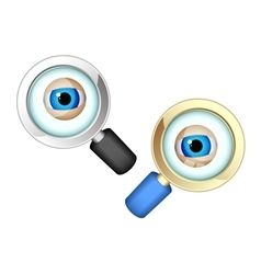 Eyes in magnifying glasses vector
