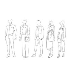 Fashion collection of clothes female and male vector