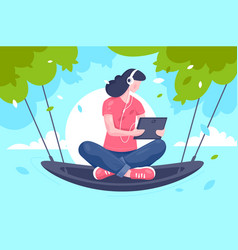 flat young girl with tablet headphones at hammock vector image