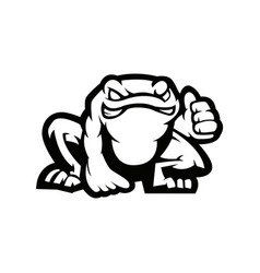 frog mascot logo black and white version vector image