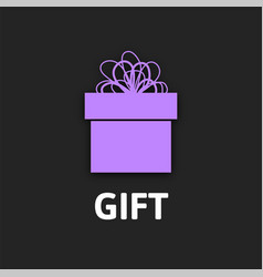 gift box icon with ribbon flat design vector image