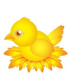 golden bird bacartoon character with feather vector image