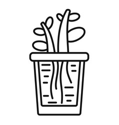 grow plant rock pot icon outline style vector image