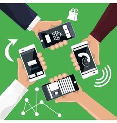 Hands holding smartphones telephones that vector image
