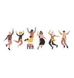 happy diverse women girl power feminist movement vector image