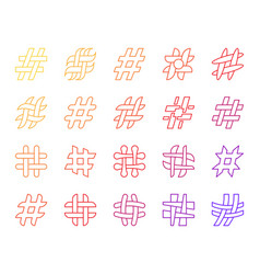 hashtag simple social media line icons set vector image