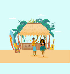 hawaiian ocean coast with characters and beach bar vector image