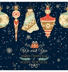 Holiday and Christmas hand drawing greeting card vector image