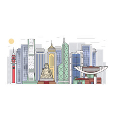 hong kong skyline with landmarks banner cartoon vector image