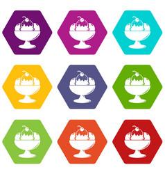 ice cream icons set 9 vector image