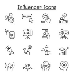 Influence people brand ambassador icon set in vector