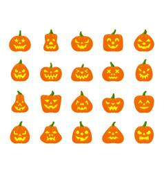 jack o lantern simple flat color icons set vector image
