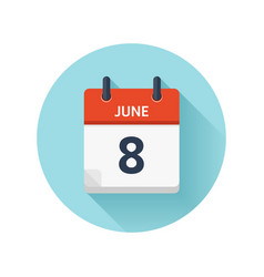 June 8 flat daily calendar icon date and vector