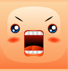 kawaii cute face funny angry muzzle vector image