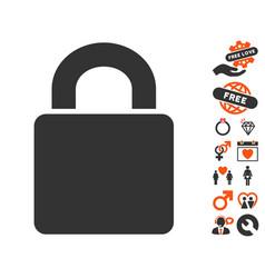 lock icon with valentine bonus vector image